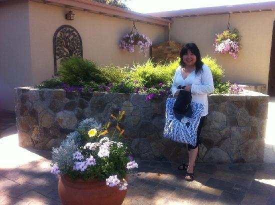 Calistoga Golden Haven Hot Springs Spa: Holding the Meshbag and Robe the Spa provide.