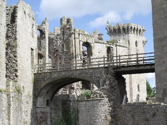 Raglan Castle: View to the complex entrance, tower on the right.