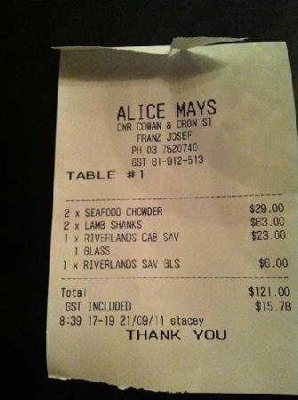 Alice May: the bill! il conto