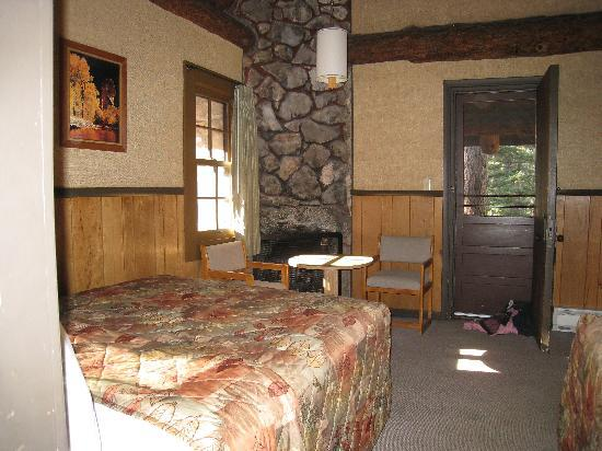 The Lodge at Bryce Canyon: View from bathroom showing fireplace