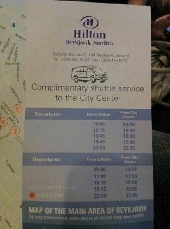 ฮิลตัน เรกยาวิก นอร์ดิกา: shuttle schedule