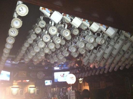 "Whitey's Booze N' Burgers: ""regular"" customers can keep their beer mug here."