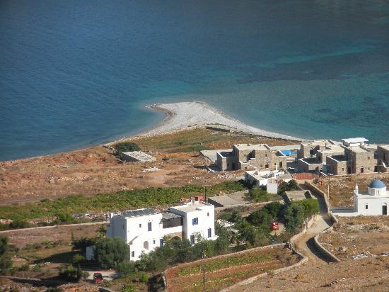 Agios Pavlos Studios: Blick oberhalb der Studios auf den Strand