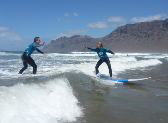 Lava Flow Surf Lanzarote: Myself and Emma getting close on the boards