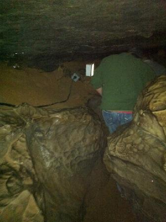 Mammoth Cave National Park: This is in one of the caves we went into. Not all tours have fits this tight.