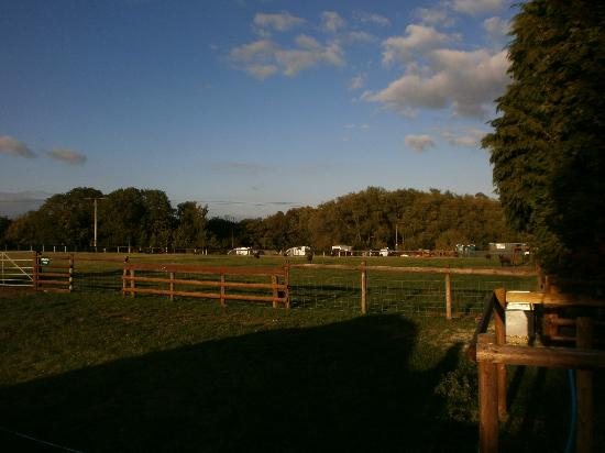 Stonehenge Campsite & Glamping Pods: Looking East towards the facilities and quieter part of the site