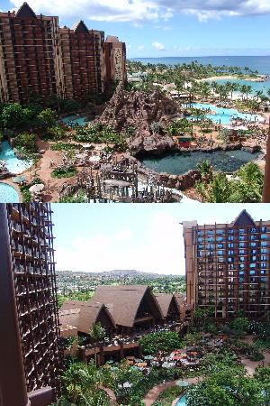 Aulani, a Disney Resort & Spa : View of Ewa Tower and Waikolohe Valley