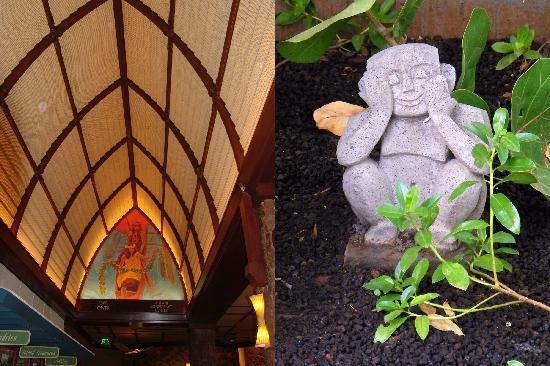 อูลานี อะดิสนี่ย์ รีสอร์ท & สปาอินฮาวาย: Ceiling artwork and one of the menehune statues