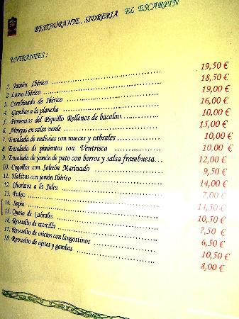 Carta Restaurante el Escarpin