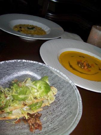 Flame Restaurant: Brussel Sprout Salad; Pumpkin Soup, Pumpkin Risotto