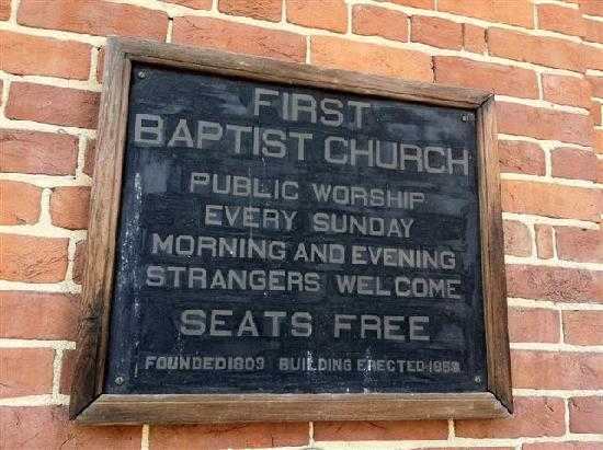 First Baptist Church: Old historical sign