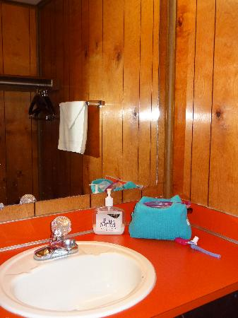 The Orca Inn: sink area of bath, the shower and toilet are in a separate room