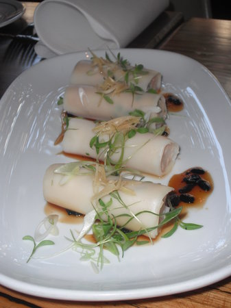 Albert Park Hotel: Mud Crab Noodle Rolls with Black Beans and Young Ginger