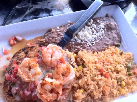 La Fiesta Authentic Mexican Restaurant: This was a chicken breast topped with Shrimp and pico de gallo.