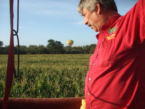 Up & Away Ballooning: Capt Daniel skimming the corn fields.  So close we could touch the tops of the corn stocks.