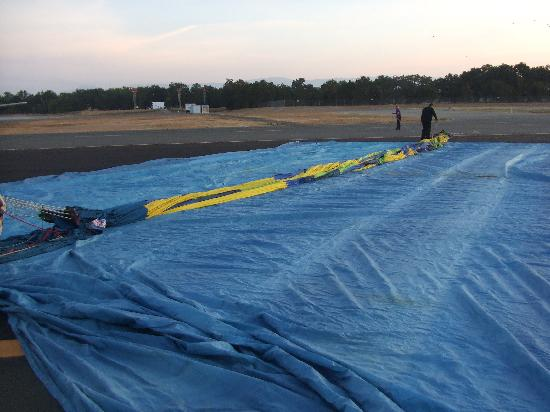 Up & Away Ballooning: The balloon laid out on the ground just waiting to be inflated