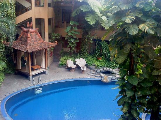 โรงแรมสุกาจาดิ: The view of the pool from our room..