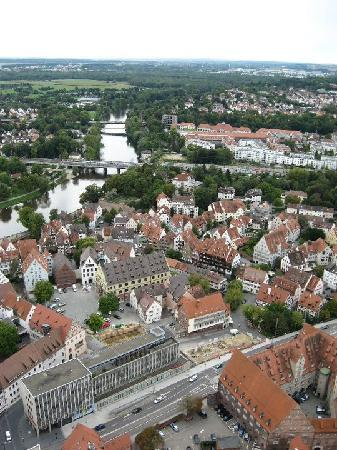 Ulmer Münster: View of Ulm and surrounding city, from the top of the church tower