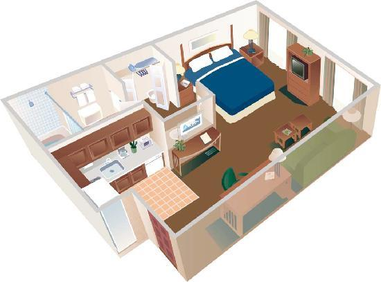 Sonesta ES Suites Auburn Hills: Studio Suite Layout