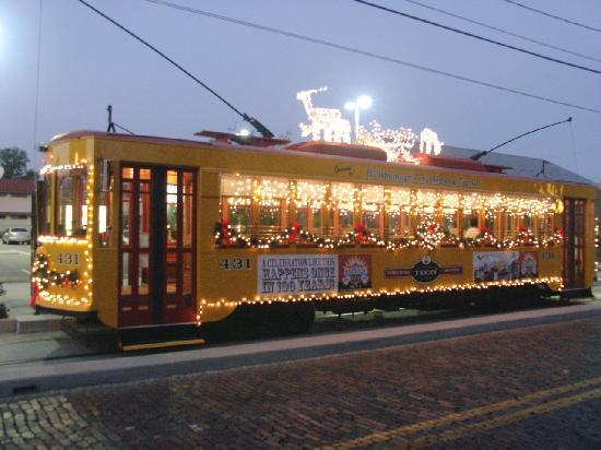 TECO Line Streetcar System: Streetcar illuminated with Holiday scene