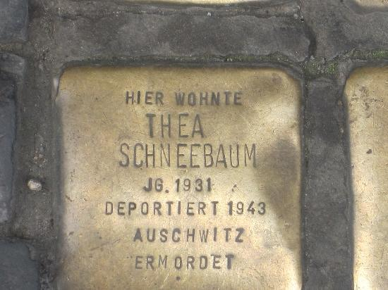 """The Berlin Experts- Walking Tours: brass """"memorials"""" on pavement in front of Berlin homes where Jews lived before deportation"""