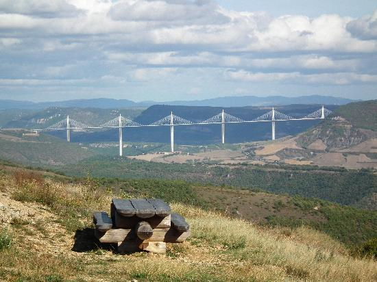 Millau Viaduct: View from road above St Affrique