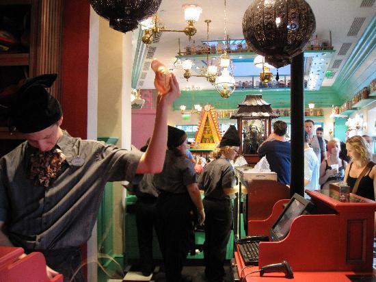 The Wizarding World of Harry Potter: Zonko's joke shop looking into honeydukes
