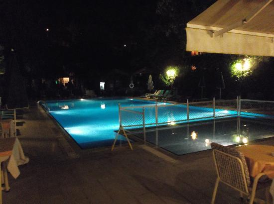 Perdikia Beach Hotel: Pool of an eveing taken from bar