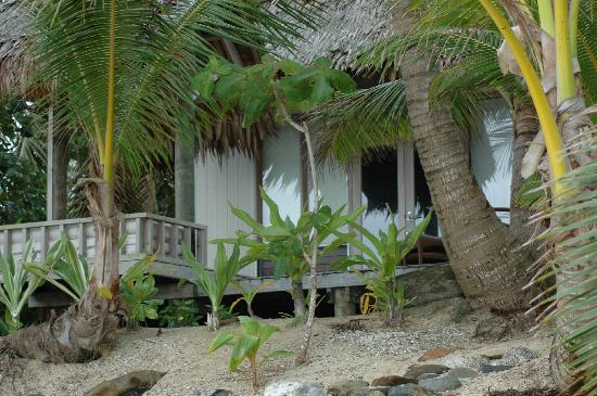 Little Polynesian Resort: From the beach, looking at our bungalow