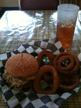 Mustard Seed Cafe: Grilled Chicken Sandwich With Onion Rings