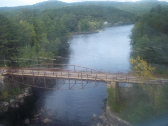 Saratoga and North Creek Railway: View from the window of bridge spanning the Hudson River