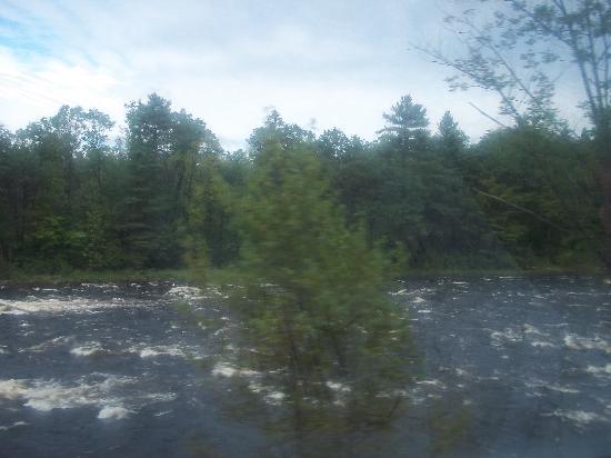 Saratoga and North Creek Railway: Whitecaps churning as we travel alongside the Hudson River