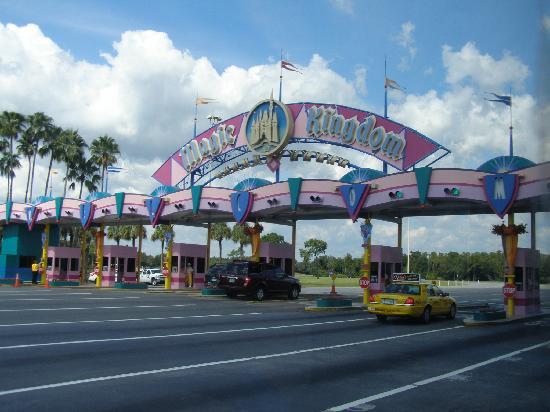 Walt Disney World Resort: Magic Kingdom entrance from our shuttle bus