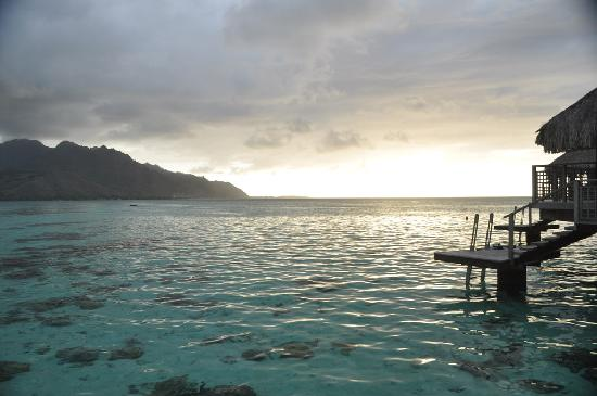 Hilton Moorea Lagoon Resort & Spa: View from our overwater bungalow a bit before sunset.