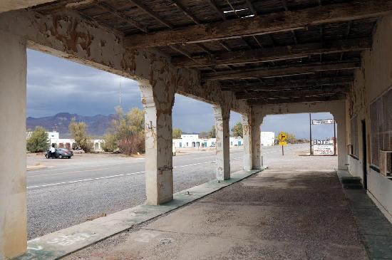 Amargosa Opera House and Hotel: view from an abandoned gas station across the street
