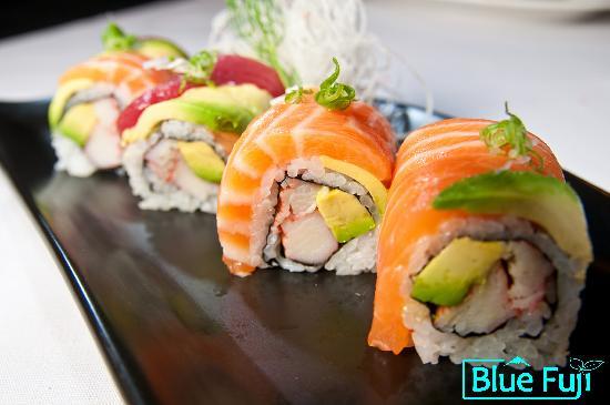 Blue Fuji: Rainbow Maki sushi medford