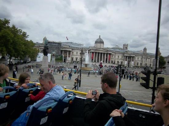The Original London Sightseeing Tour: Trafalgar Square from the open-air bus.