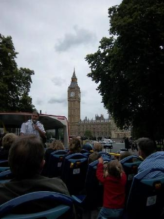 The Original London Sightseeing Tour: Charlie was our guide on the red line. Here, we're approaching the Houses of Parliament.