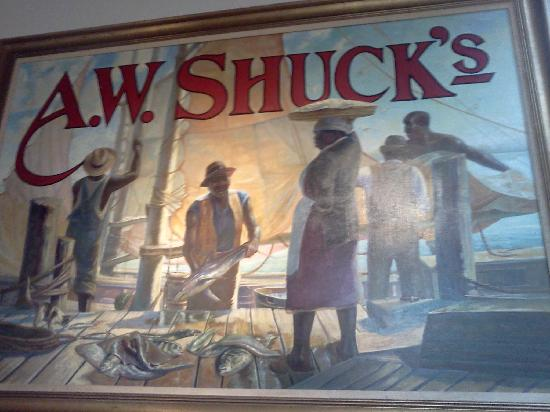 A W Shucks Seafood Restaurant & Oyster Bar: One of their beautiful pictures and t-shirts.