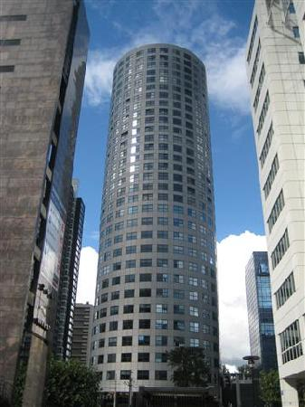 City and harbourwalk: modern tower block