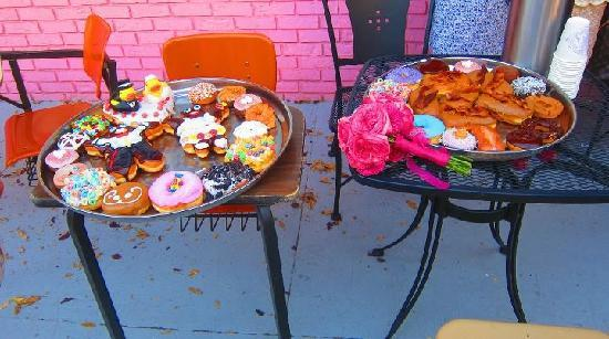 "Voodoo Doughnut Too: Wedding ""cake"" and doughnut reception"