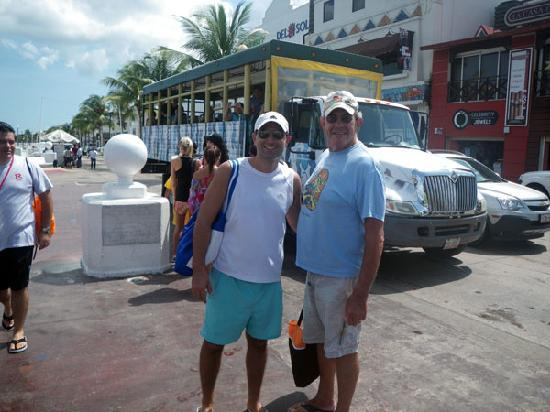 Cozumel Tours: Allan and I in front of the jungle bus