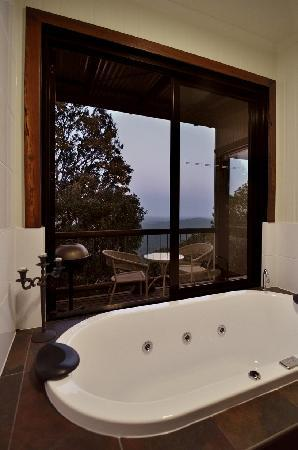 At Remingtons Lodge & Private Cottages: Tooralia cabin spa and balcony outlook