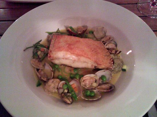 Porthminster Beach Cafe: Brill with clams, herb dumplings, garden veg