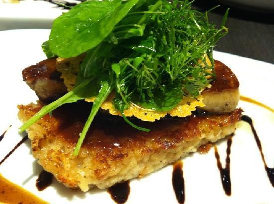 "PizzaZo Bistro: 14.Pan-fried Duck Foie Gras Escalope - with risotto ""al salto"" with full flavored truffle sauce"