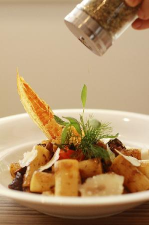 "PizzaZo Bistro: Beef and Mushrooms ""Macaronade""- Macaroni with our country style gravy and shaved parmesan"