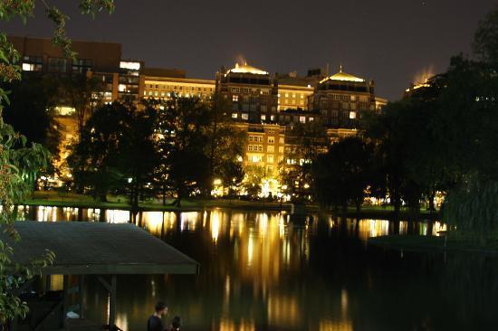 Boston Common: View across pond in Boston Public Garden at night