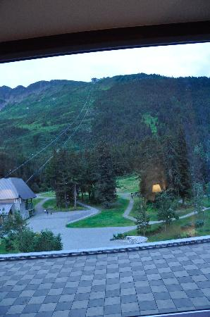 Hotel Alyeska: View from our window up to the top of the mountain.