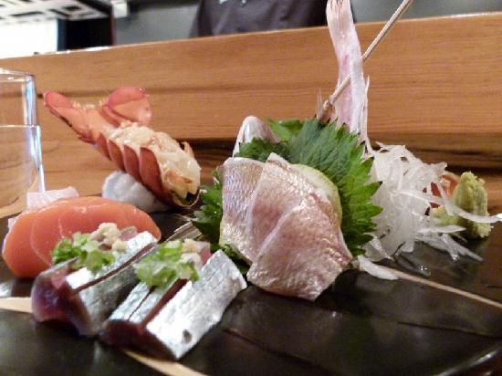 Miyake: Sashimi combo - view from the left - saury pike