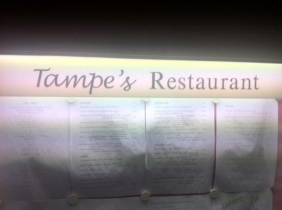 Tampe' s Restaurant: Speisekarte (aussen)